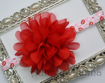 Baby Headband, Valentines Day Baby headband, newborn headband, infant headband, baby hair bow, first Valentines day
