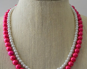 Pink & White Pearl Multi-strand Beaded Necklace