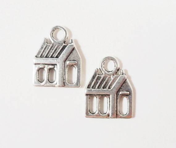 Silver House Charms 16x12mm Antique Silver Metal Home Charms Building Schoolhouse Church Charm Pendant Jewelry Making Jewelry Findings 10pcs