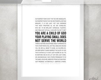 Child of God / Dorm Room Decor / Fear / Marianne Williamson Inspirational Quote Print / College Poster // 5x7 / 8x10 / 11x14