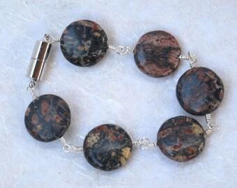 Leopard Jasper Wire Wrapped Bracelet