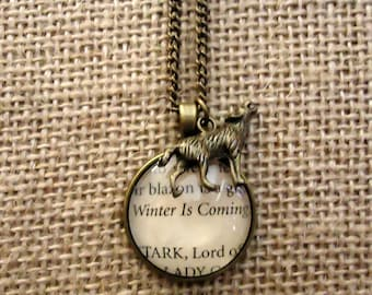 Winter is Coming Book Page Necklace - Game of Thrones