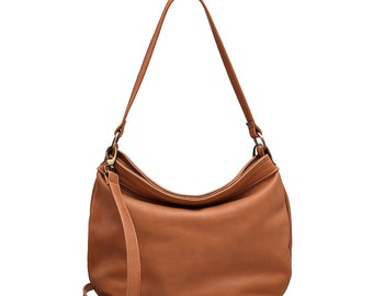 Tan hobo purse - Tan soft leather bag - Leather hobo bag - Leather shoulder bag - Women leather bags - LARGE HELEN