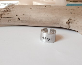 My One Word Ring Custom Word Ring Hand Stamped Word of the Year Jewelry Personalized Ring Hand Stamped Ring