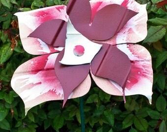 Burgundy Metal Yard Art Flower, Indoor Outdoor Wall Art, Garden Stake, Salvaged Recycled, Primitive Folk Art, Home Decor, WabiSabi, 7506