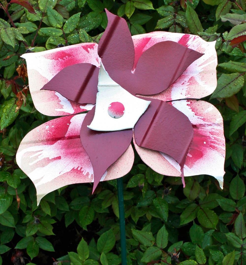 Burgundy Metal Yard Art Flower Indoor Outdoor Wall Art