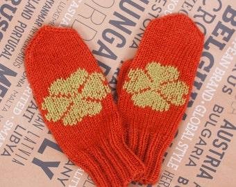 Handknit mittens, Womens Knit gloves, Winter Knitted Mittens, Pumpkin orange Mittens, Winter accessory, Fall fashion, Halloween, Christmas