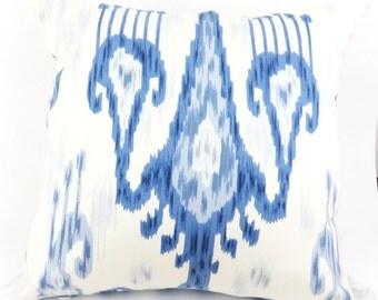 Blue ikat  print Zipper Pillow Cover  20x20