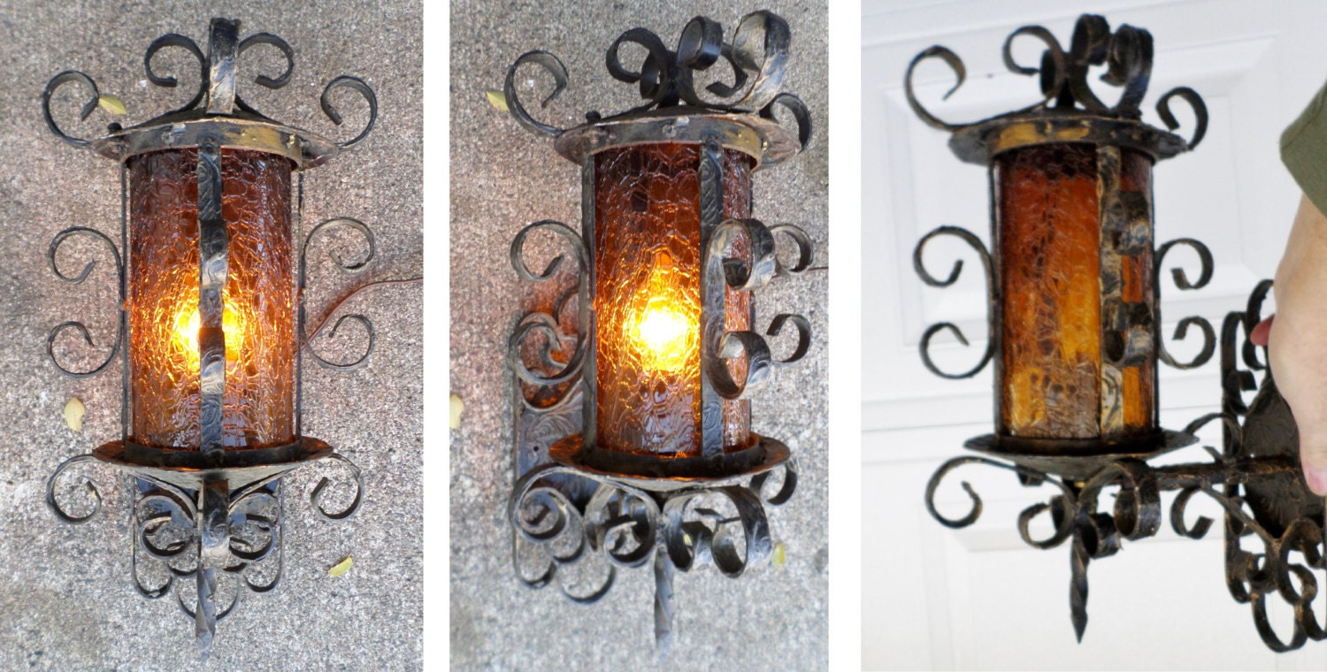 1950 39 s vintage spanish revival wrought iron wall for Mediterranean lighting fixtures