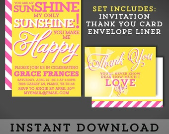 INSTANT DOWNLOAD - Invitation Stationery - Sunshine - Typography - Yellow Pink - YOU Personalize