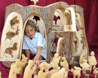Carved Nativity for Church or Kindergarten