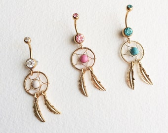 turquoise belly ring, gold belly ring, Bellybutton ring,dreamcatcher, feather,bellybutton ring, belly ring pink white