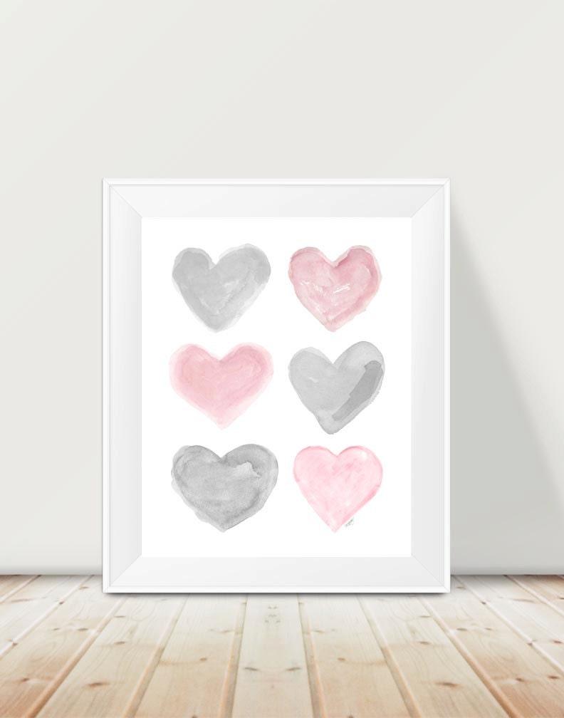 pink gray nursery kids decor 11x14 print pink and gray art. Black Bedroom Furniture Sets. Home Design Ideas