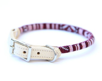Cat Collar or Small Dog Collar - Red/White - Valentines Collar