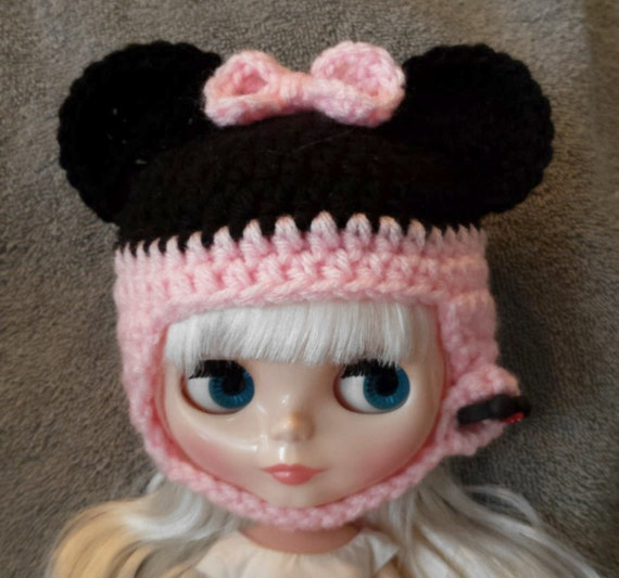 Minnie Mouse Ears Crochet Hat for Blythe Doll Polymer clay