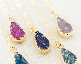 Ipolani necklace -  gold druzy pendant necklace, gold necklace, gold pendant necklace, hawaii druzy necklace, teardrop druzy necklace, maui
