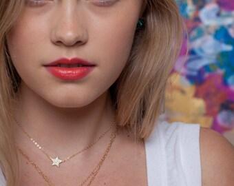 Hinuhinu necklace - double layered gold moon star necklace, strand necklace, bohemian moon stars necklace, boho layering necklace, hawaii