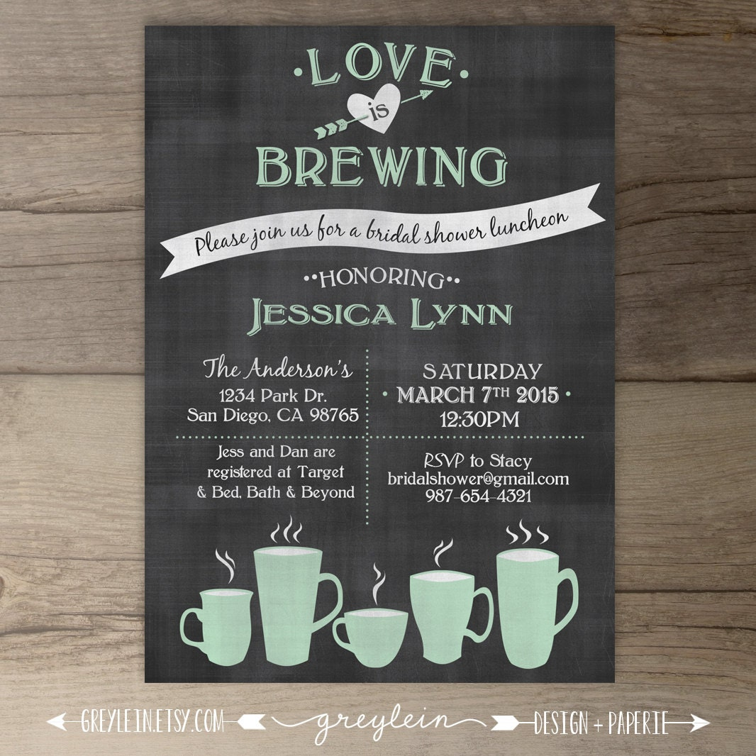 Chalkboard Engagement Party Invitation Printable By: Love Is Brewing Bridal Shower Wedding / Engagement Party