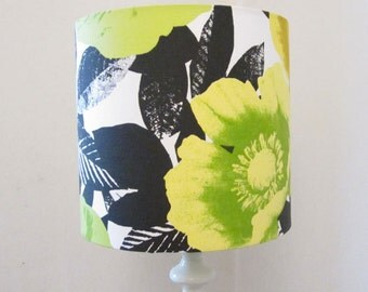 Bright Yellow, Lime Green & Black Modern Print  Drum Lampshade - Suits UK / European Light Fittings