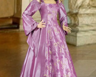Renaissance or Medieval Style Dress Handmade from Embroidered Taffeta, Multiple Colors Available