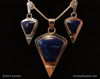Lapis Pendant & Earring Set in Argentium Sterling Silver