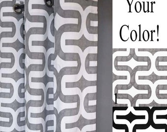Gray Curtains - Embrace Geometric Grommet Curtains in Grey and White 2 Curtain Panels - FREE SHIP - Any Size - Black and White or Gray/White