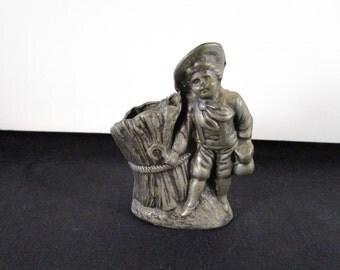Antique Pewter, Figurine, Toothpick Holder, Little Boy Blue, [Drw]