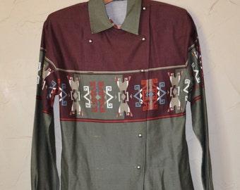 Vintage Southwestern Shirt Vintage 80s Roper Shirt Grey and Burgundy Shirt Button up Shirt Dress Shirt Size Small