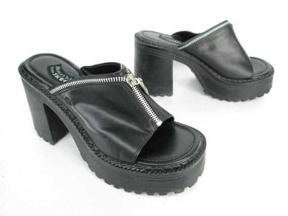 Vintage 90s Platform Shoes Chunky Heel Black by ...