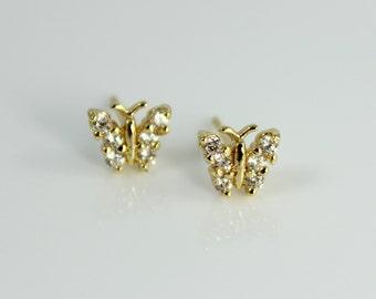 Butterfly Earrings Gold Filled High Quality Crystal Butterflies Women Small Little Girls Small Minimalist Earring Set