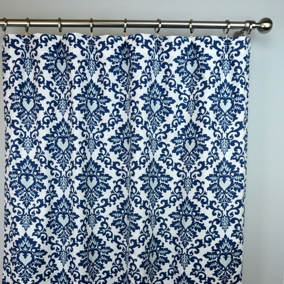 Navy Blue Light White Cecelia Damask Floral Curtains Rod