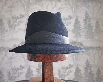 """Claude Signature: Tall Fedora with signature """"Lehfeldt"""" curved leather trim and french beauvais grosgrain binding"""