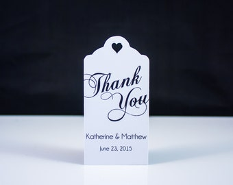 Wedding Favor Thank You Tags (50) - Personalized Thank You Tags, Your Letters.Perfect for Wedding or Party Favors