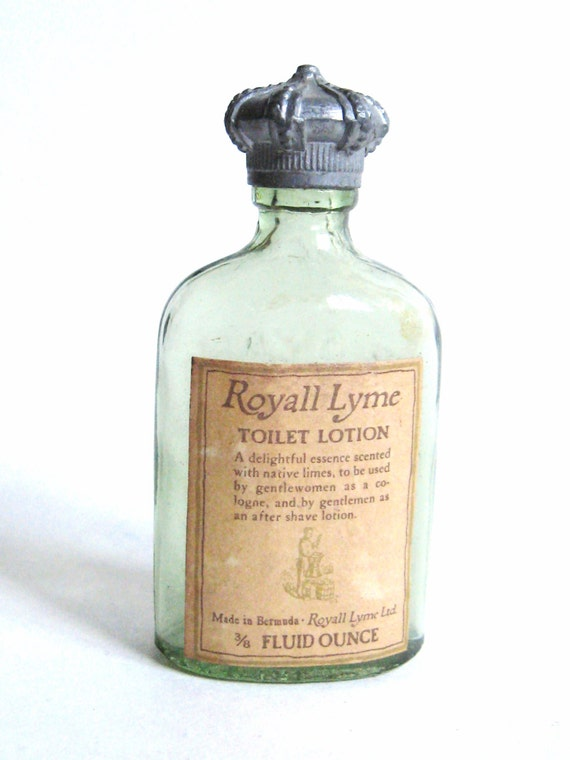 Mid Century Vintage 1960s Royall Lyme Toilet Lotion Molded