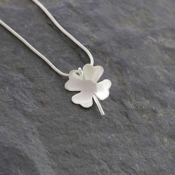 Silver Four Leaf Clover Pendant    PMC Fine Silver Clay Jewelry     Handmade Recycled Silver Shamrock Necklace