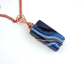 Blue Agate Pendant, Copper Wire Wrapped, Semi Precious Stone, Bright Copper, Brilliant Blues, Dramatic Statement Piece, Handmade, Unique