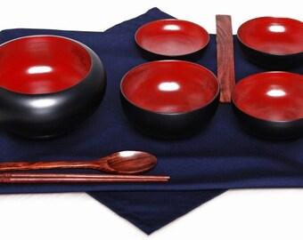 Mango Wood Monk's Oryoki 6 Bowl Set