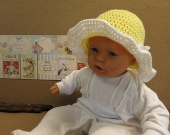 Baby Crochet Sun Hat,  Lemon And White Children Bucket Hat, Photo Props Melbourne Australia