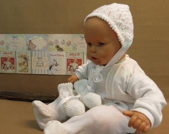 Knitted Baby Booties / Bonnet Newborn Baby Set, Baby Photo Props, White Baby Shower Gift, Handmade, Australia Nchanted Gifts