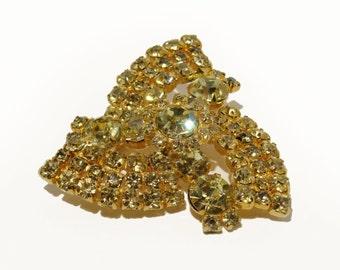 60's Rhinestone Brooch Yellow Gold