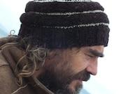 Treasury List Knitted Woolen Beanie Organic Handspun Yarn in Natural dark Brown and White Men Women