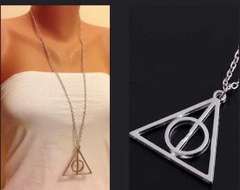 Harry Potter Deathly Hallows Necklace, Antique Silver Long Necklace, Movie Necklace, Movie Jewelry, Wizard, Hogwarts,Harry Potter Symbol