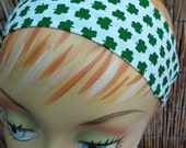 St.Patricks Day Clover Headband One Size Fits All 100% Cotton Fabric White
