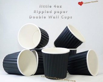 4 oz.RIPPLED Paper cups Paper Beverage/ Coffee / Ice Cream/ Dessert/ Chili/ Cobbler/ Soup.Ruffled Kraft cup Wooden Spoon Stamped Words