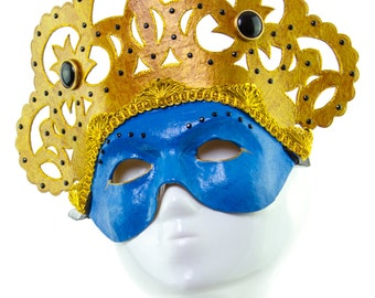 GENIE - Blue and Gold Venetian Styled Mask