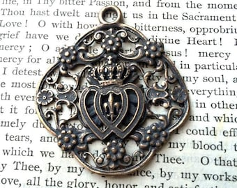 Sacred Heart and Immaculate Heart - Large Pendant - Twin Hearts - Two Hearts - Bronze or Sterling Silver - Made in the USA  (M281-1259)