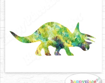 Triceratops Silhouette Print in Watercolor Textures. More Dinosaurs and Colour Choices as Wall Art Posters available. Suit Dinosaur Bedroom