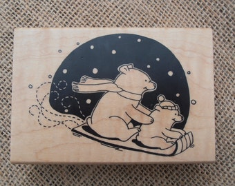 Polar Bear Stamp Mounted on Wooden Block - Inkadinkado