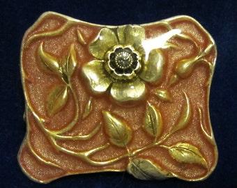 Vintage French art nouveau style brooch, enamel, rhine stone