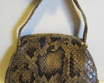 Vintage snake skin leather bag, satchel, very good condition